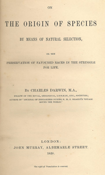 Figure 1. Facsimile of the title page of On the Origin of Species.