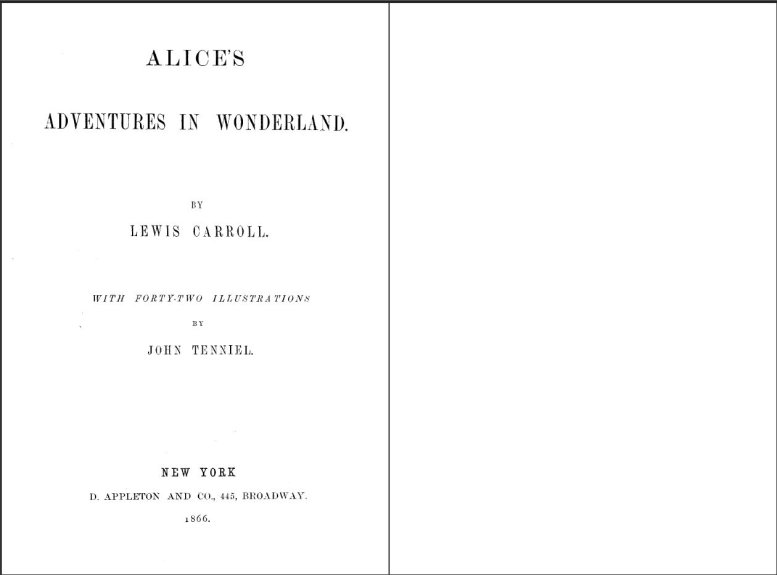 Figure 1. First pages of Alice's Adventures in Wonderland.