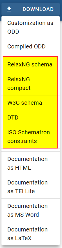 Figure 5. Schema download formats in Roma.