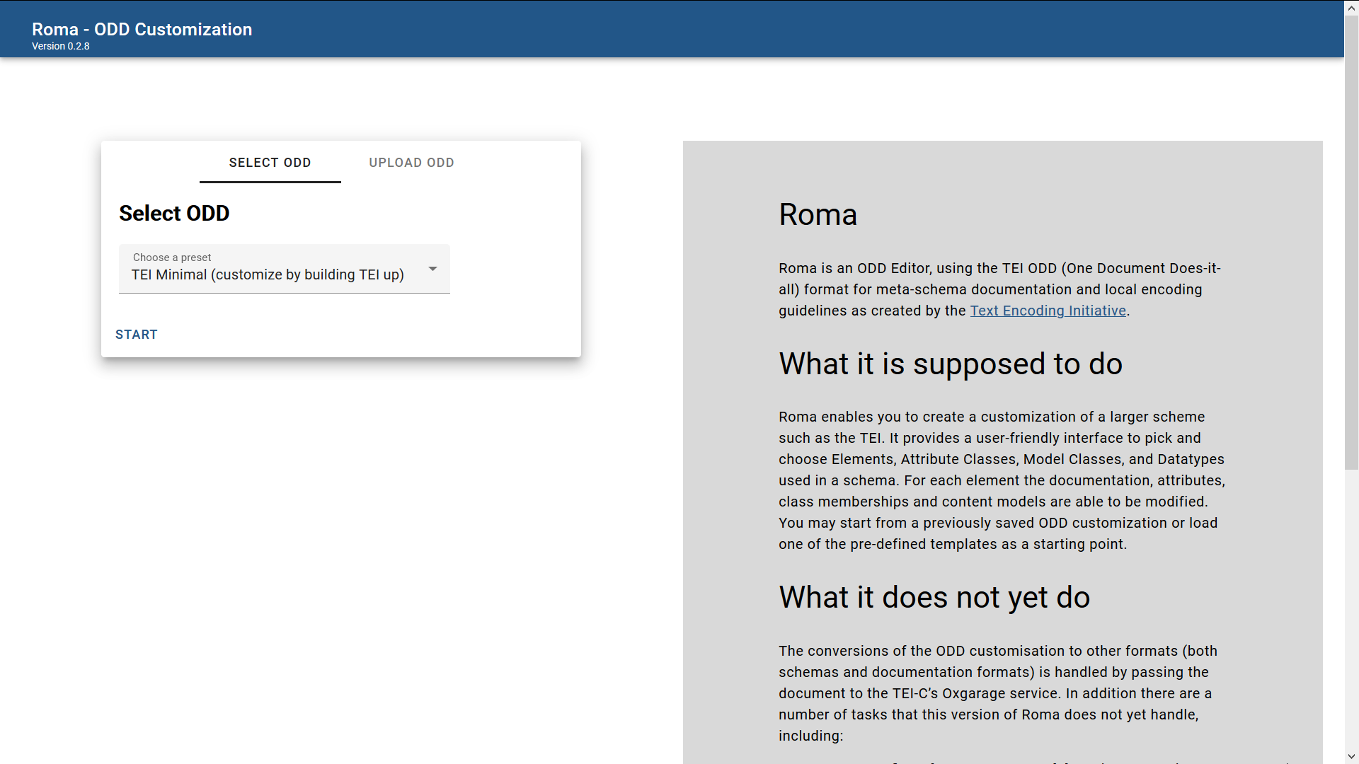 Figure 3. The start screen of Roma.