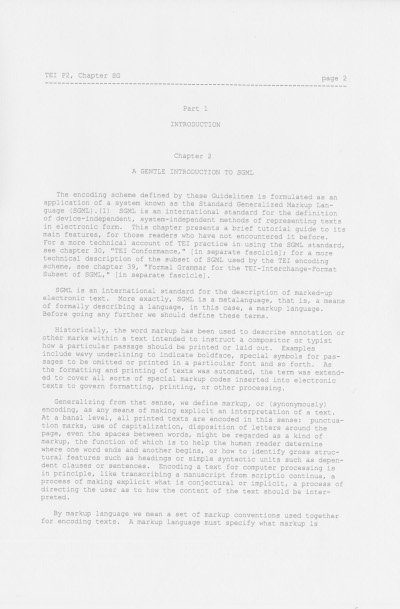 Figure 1. A page of version P2 of the TEI Guidelines.