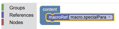 Figure 32. Adding a macro to the content model of the <animalName> element in Roma.
