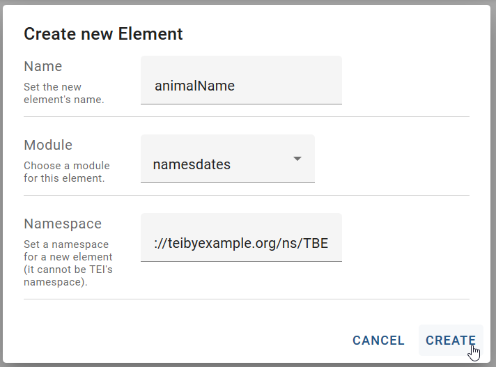 """Figure 24. """"Create new element"""" form in Roma."""