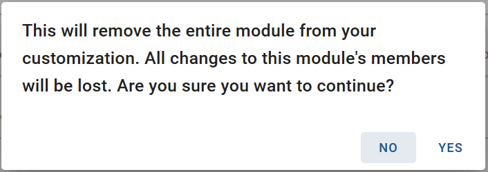 Figure 13. Warning when removing an entire module in Roma.